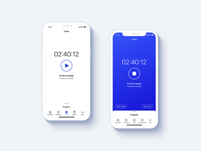 Timer navigation icons projects time tracking time timer design mobile ux ui clean flat app