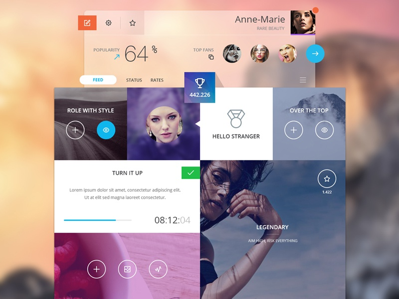 Challenges flat ui ux web app profile social icons challenge statistics achievment transparent