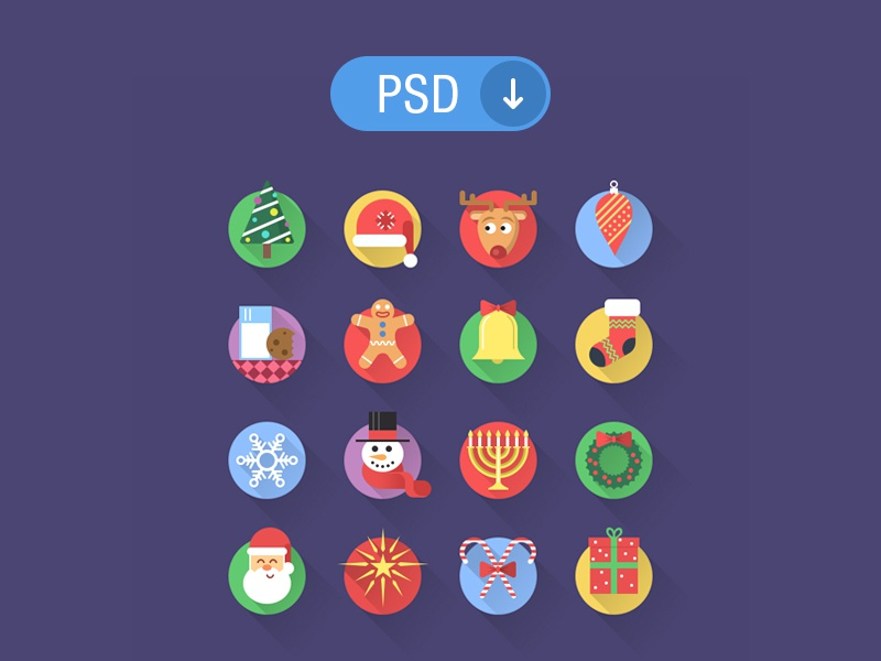 Christmas Icons christmas icons set download free psd freebie holiday flat