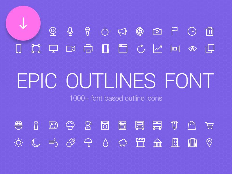 Epic Outlines Font + Freebie icons outline psd freebie free set download categories web mobile creative market
