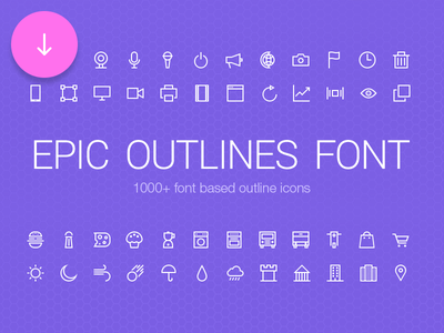 Epic Outlines Font + Freebie icons outline psd freebie free set download categories web mobile creative market