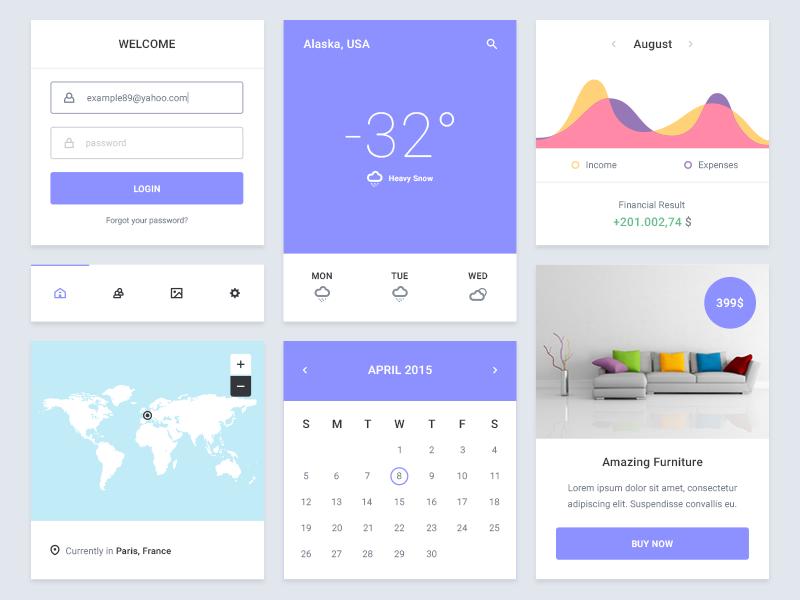 UI Kit Freebie ui ux kit flat freebie widget e-commerce statistics user finance psd free