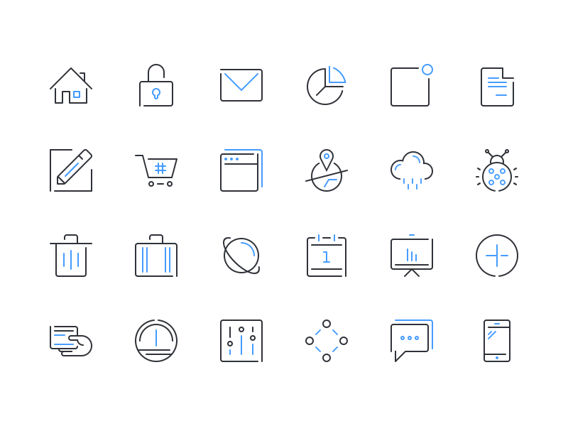 Epic Multicons mobile financial icon set web technology business statistics outline flat freebie psd icons