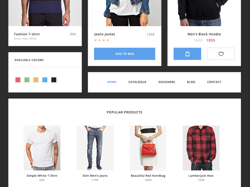 E-commerce UI Kit [freebie] product shop e-commerce clean app web widget freebie flat kit ui