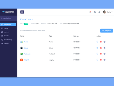 Integrations screen [v2] admin clean flat sidebar web app redesign integrations dashboard ux ui