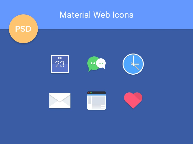 Material Web Icons [freebie] browser mail calendar design material google android flat psd freebie set icons