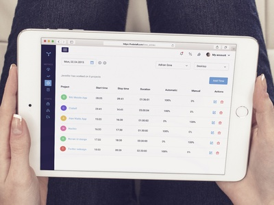 Timesheets Screen sidebar dashboard admin filters redesign project time tracking web app ux ui flat