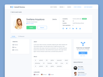 Hubstaff Directory Profile Page By Adrian Goia Dribbble