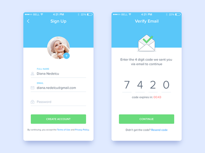Cluball sign up screens android ios app material design email illustration confirm account icons input form fields create account validate sign-up
