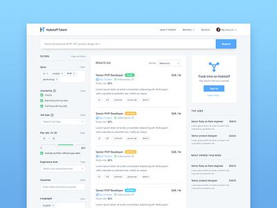 Job search hubstaff search freelancing job material design profile forms filters sidebar
