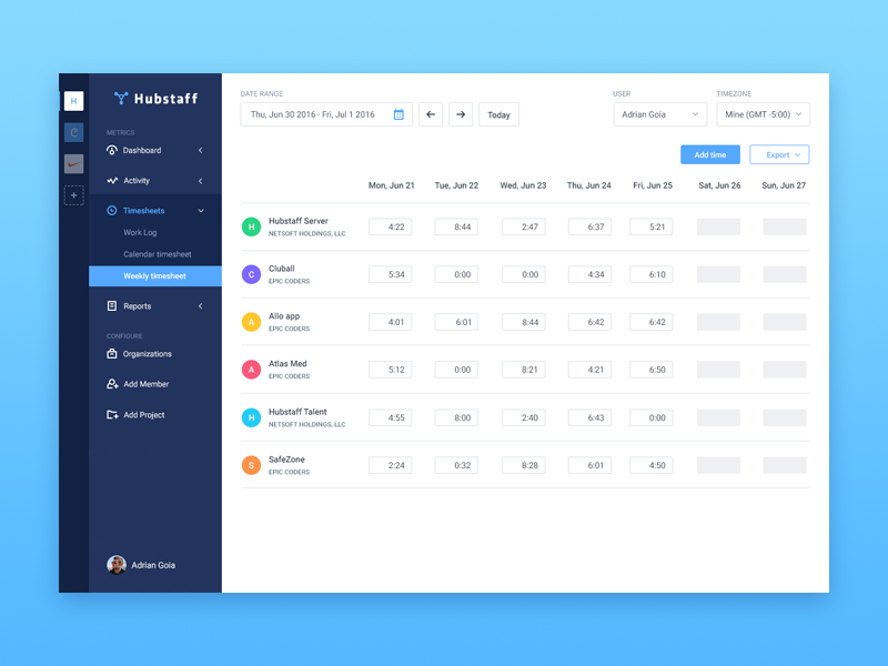 Weekly timesheet dashboard sidebar app timesheet activity tasks table user ui projects work log time tracking