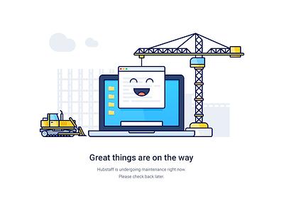 Maintenance upgrade building bulldozer crane app macbook laptop construction flat outline illustration maintenance