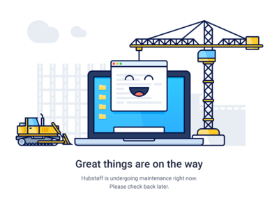 Maintenance upgrade building bulldozer crane app macbook laptop construction flat outline illustration maintenance