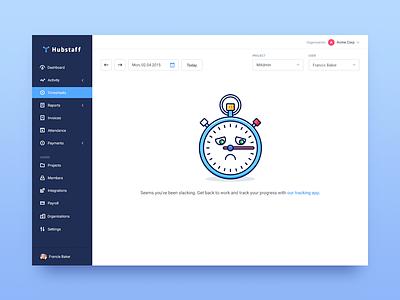 No activity  time tracking work log stopwatch flat outline illustration tasks activity timesheet app sidebar dashboard