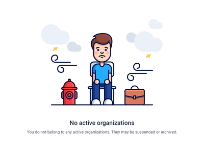 No organizations storm weather icons clouds character organization hydrant briefcase employee outline flat illustration
