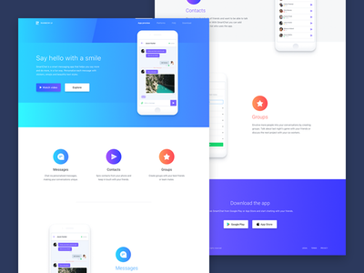 Landing Page footer hero header features mockup icons mobile app ux ui page landing