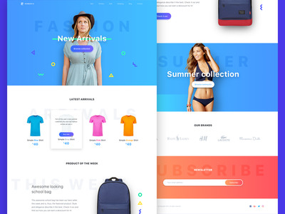 E-shop landing page store landing page ui ux app icons ecommerce fashion header hero footer