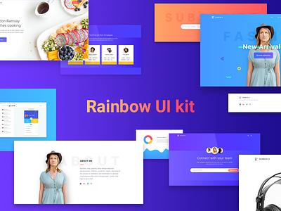 Rainbow UI kit ui ux landing page header footer hero forms sketch app mobile ui kit