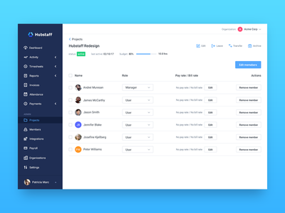 Project details dashboard sidebar app list icons table team ui project budget time tracking