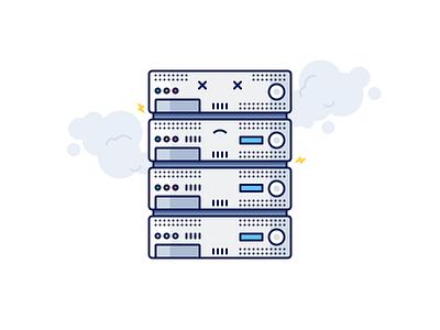 Server problems icon error network computer server flat outline illustration