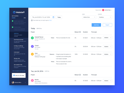 Getting started getting started time tracking app projects users table activity timesheet steps wizard dashboard sidebar