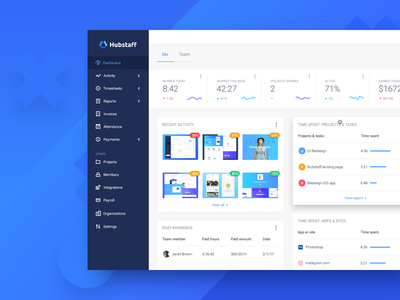 Dashboard statistics time tracking budget project team table app sidebar dashboard