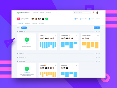 Projects 2.0 app dashboard tabs icons project management board cards organization tasks material design