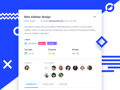 Task details iteration material design notes tasks organization cards board management project icons dashboard comments app
