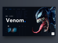 Venom web design landing navigation header concept design movie venom dark app typography design dashboard profile ux ui flat app