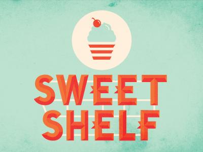 Sweet Shelf logo brand identity cupcake sweet bakery candy vintage retro marquee type lettering