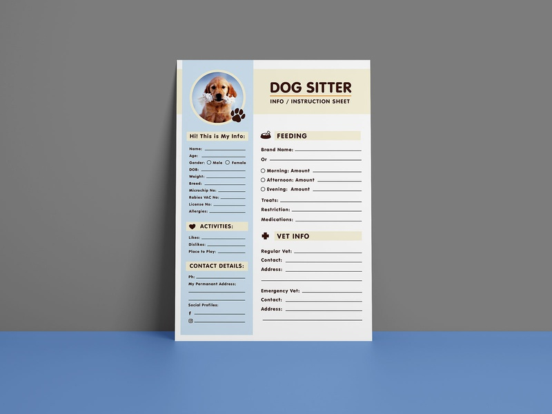 Free Dog Sitter Instruction / Information Sheet Design Template