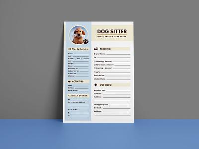 Free Dog Sitter Instruction / Information Sheet Design Template flyer design free flyer dog flyer dog information sheet dog instruction sheet dog sitter flyer dog flyer template