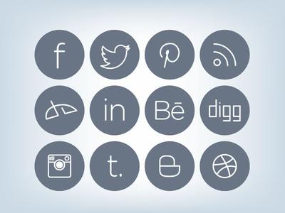 Sleek Social Media Icons