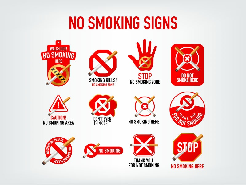 No Smoking Signs Icons Symbols By Zee Que Designbolts Dribbble