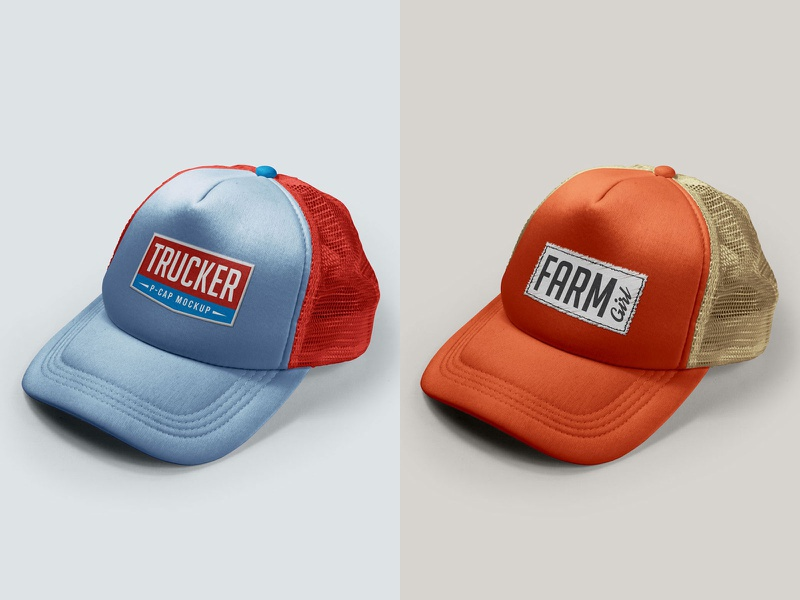 Download Free Men / Women Summer Trucker P-Cap Mockup PSD