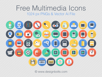 Free Flat Long Shadow Multimedia Icons