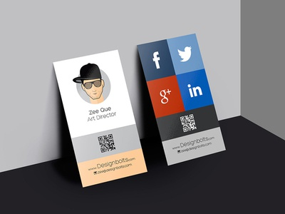 Free Vertical Business Card Design Mockup Psd by Zee Que