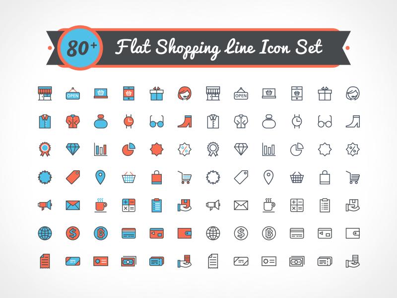 Free Vector Flat Shopping Line Icon Set flat icons icons free freebie free vector icons free icons icons shopping shopping icons