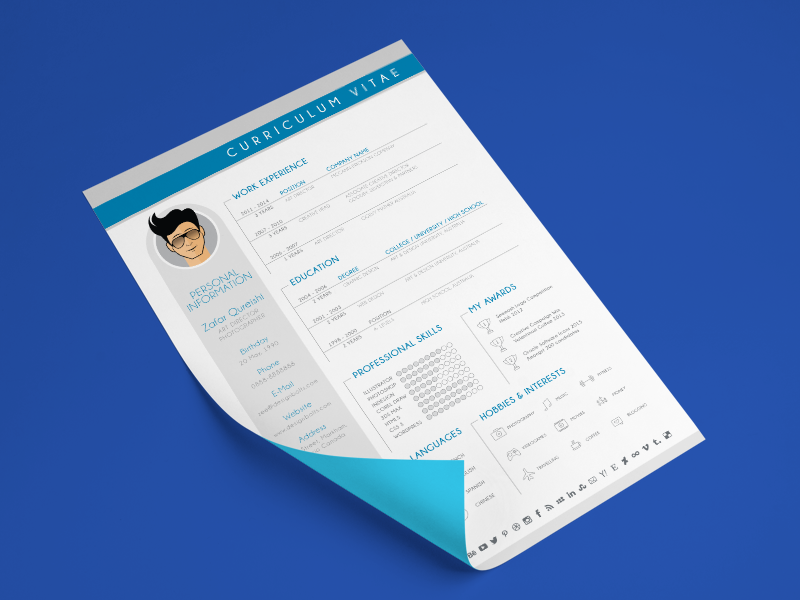 Free Modern Cv Resume Design Template For Graphic Designers By Zee