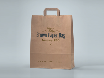 Free Brown Paper Shopping Bag Packaging Mock-Up Psd