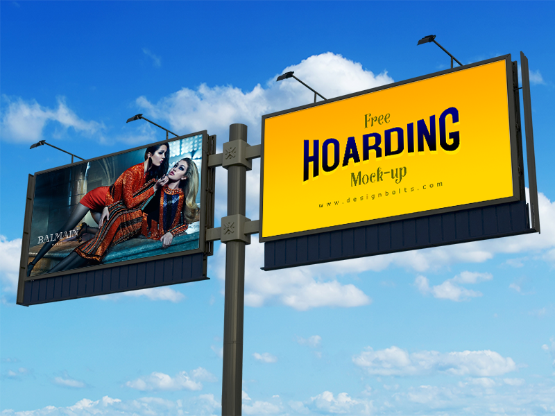 Free Frontlit Outdoor Advertising Hoarding Mock-up PSD billboard billboard mockup hoarding outdoor mockup mockup psd psd free psd outdoor advertising mockup