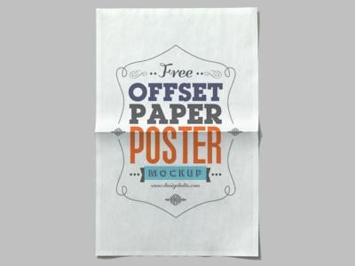 Free Offset Paper Poster Mockup PSD