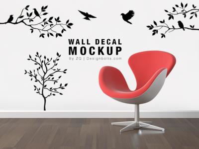 Free Wall Decal / Sticker Mockup Psd File