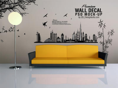 Free Vinyl Wall Art Decal Sticker Mockup Psd File