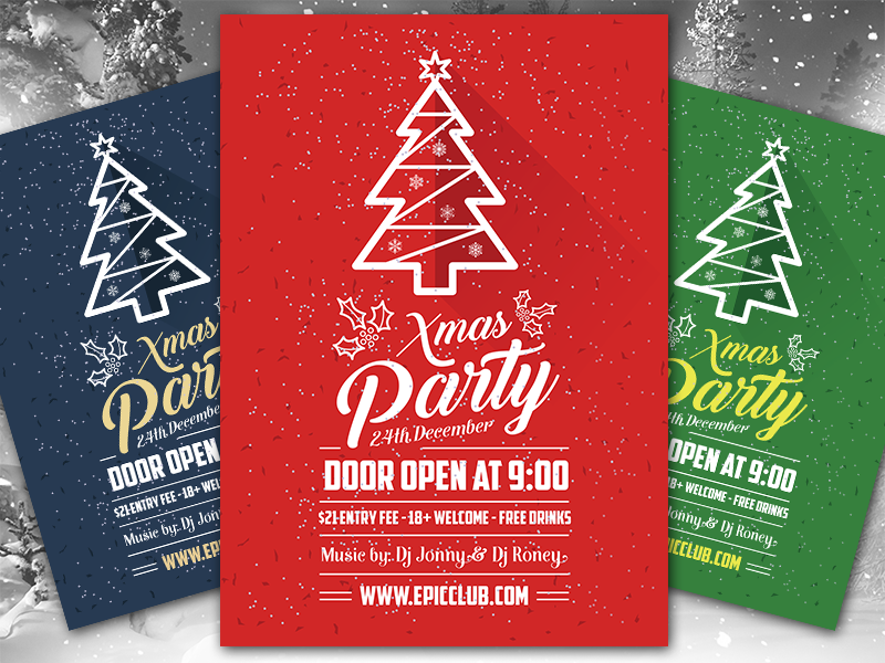 Free A4 Christmas Party Flyer Design Template Mock Up Psd By Zee