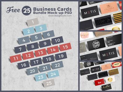 Free Business Cards Bundle Mock-up PSD