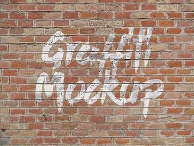 Free Logo / Graffiti Brick Wall Mock-up PSD