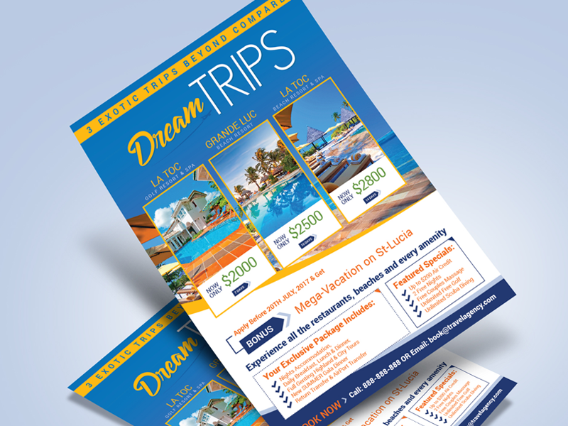 free travel agency vacation flyer design template by zee que