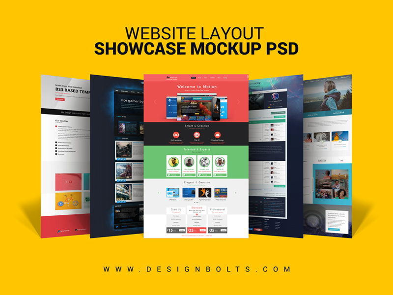 Free Website Layout Design Showcase Mockup PSD File by Zee Que ...