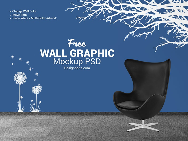 Free wall decal sticker mockup psd by zee que designbolts dribbble